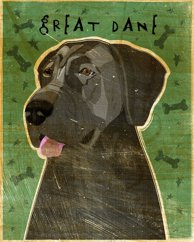 Great,Dane,Number,6,-,Blue,Dog,Art,Print,8,in,x,10,Illustration,whimsical,cute,animals,dog_art,pet,puppy,Great_Dane,Great_Dane_Art,Dog_Print,blue,paper,ink