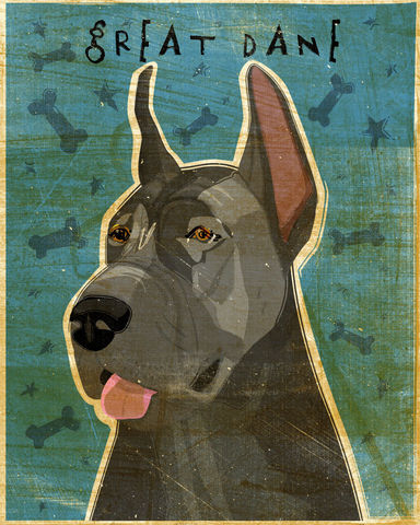 Great,Dane,Number,5,-,Blue,Dog,Art,Print,8,in,x,10,Illustration,whimsical,cute,animals,dog_art,pet,puppy,Great_Dane,Great_Dane_Art,Dog_Print,blue,paper,ink