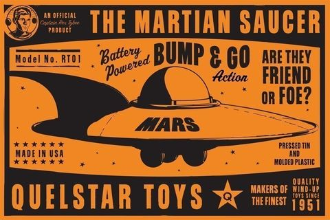 Martian,Saucer,Box,Art,Print,8,in,x,12,art,illustration,print,digital,robot,children,tin_toy,paper,ink