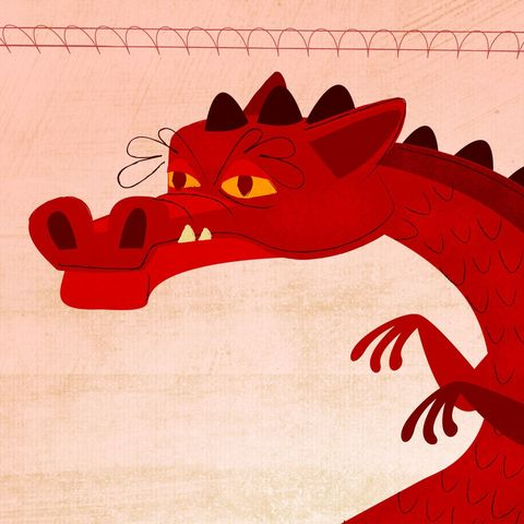 The,Long-Bellied,Russian,Red,Print,8,in,x,10,Children,Art,illustration,print,digital,art,red,dragon,paper