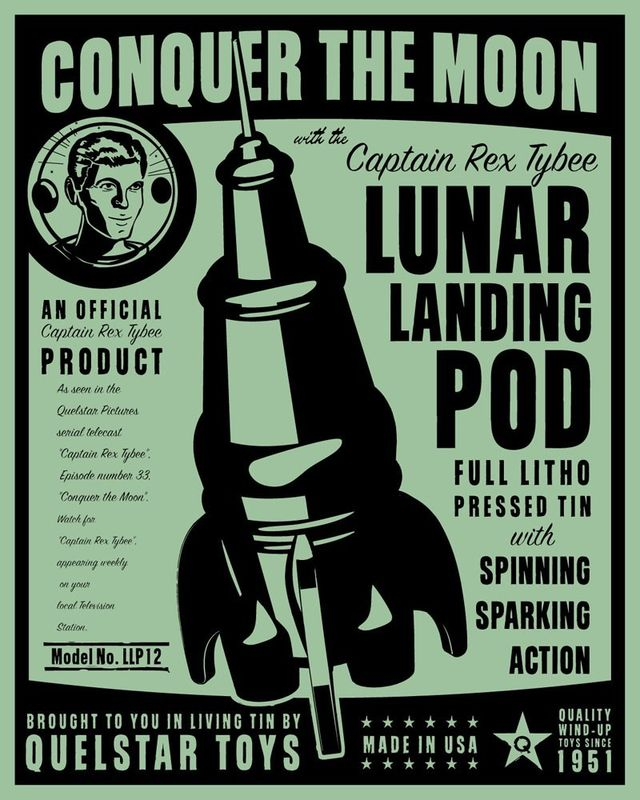 Lunar Lander Tin Toy Robot Box Art Print - product images