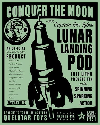 Lunar,Lander,Tin,Toy,Robot,Box,Art,Print,art,digital,paper,print,robot,cute,children