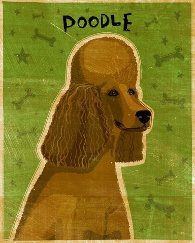Brown,Poodle,Print,8,in,x,10,Art,Illustration,digital,whimsical,cute,dog,animals,animal,poodle,brown,chocolate,green,paper,ink