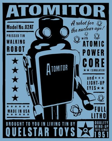 Atomitor,Tin,Toy,Robot,Box,Art,Print,art,digital,paper,print,robot,cute,children,geekery,blue_art