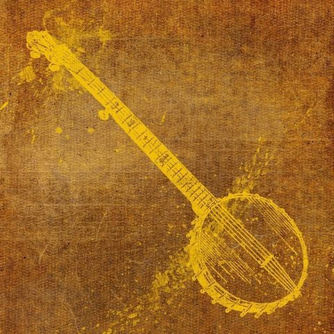 Banjo,8,in,x,Print,dictionary,art,illustration,print,painting,mixed_media,altered,vintage,johnwgolden,banjo,yellow,brown,bluegrass,paper,camera