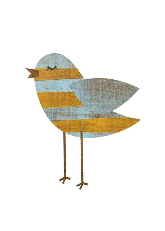 Yellow Blue Stripe Bird Collage Print 5 in x 7 in - product images  of