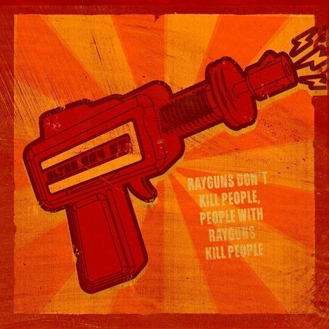 Rayguns,Don't,Kill,People,Carnival,Style,Print,Art,Illustration,Digital,digital,pop,raygun,humor,scifi,red,yellow,computer,paper