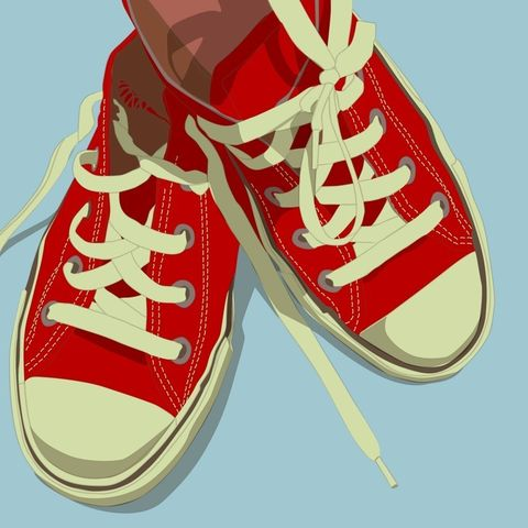 Lowtops,Red,on,Baby,Blue,8x8,Square,Print,Art,Illustration,digital,kitsch,retro,vintage,shoes,lowtops,etsyholidaysale,bogo,paper,computer
