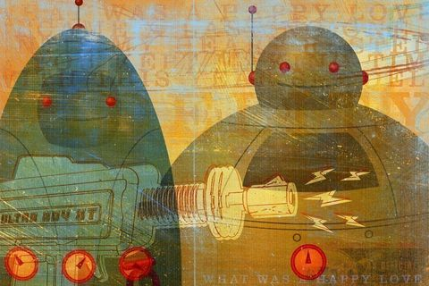 What,Was,A,Happy,Love,Print,Art,Illustration,paper,retro,collage,digital,robot,yellow,gray