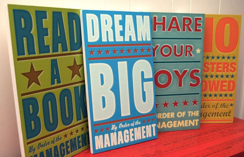 Set of 4 - By Order of the Management Art Block - Pick the Prints - 10.8 in x 18 in - product images  of