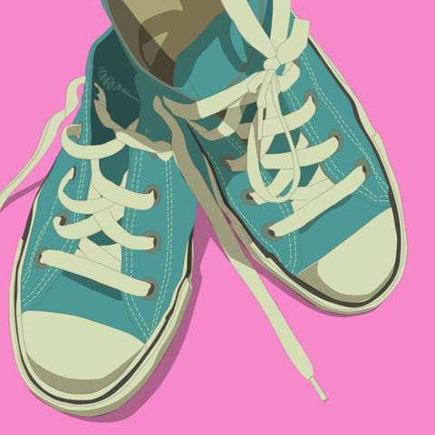 Lowtops,Turquoise,on,Pink,8x8,Square,Art,Illustration,Print,digital,kitsch,retro,vintage,shoes,lowtops,pink,turquoise,paper,computer
