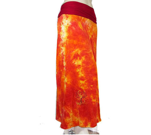 Womens,Maxi,Skirt,in,OBV,(Organic,Bamboo,Velour)-,Rise,of,the,Phoenix,Theme-,Hand,Dyed,obv maxi skirt, long skirt,full skirt,bamboo skirt,long bamboo skirt,custom size skirt,plus size skirt,petite skirt,made to order, maxi skirt,made to measure,foldover waist skirt, bamboo,lycra,velour,organic bamboo