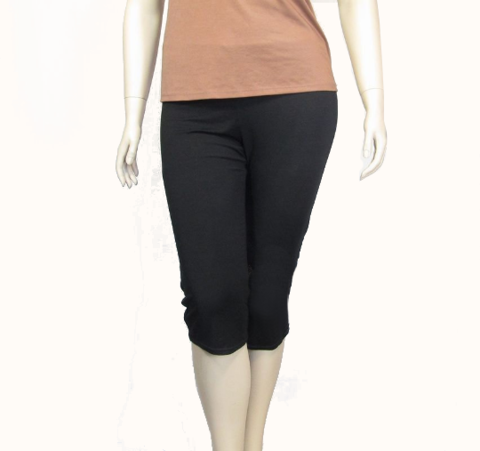 Bamboo/Organic,Cotton,Cropped,Leggings,-,Ready,to,Ship,in,Black,and,Peach,Echo,,Sizes,XL/2X/3X