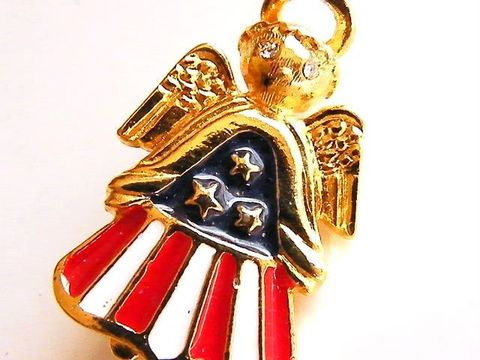 Vintage,Angel,Brooch,and,Pendant,,Patriotic,Signed,L.,Razza,USA,Jewelry,angel,razza,enamel,halo_pendant,rhinestone,red,white,blue,angel_brooch,patriotic,US_Flag,holiday_jewelry,designer,gold,tone,metal,rhinestones