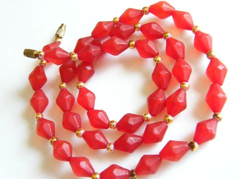 Vintage,Apple,Red,&,Gold,Bead,Necklace,,Bicones,,Seed,Beads,Jewelry,Necklace,red,bicone,beads,bright,opaque,fire_red,apple_red,holiday,Gifts_for_women,holiday_jewelry,gold,1960,bead_necklace,plastic,metal