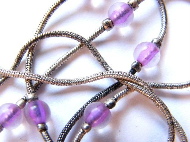 Vintage Choker Necklace Opaque Purple Beads With Silver