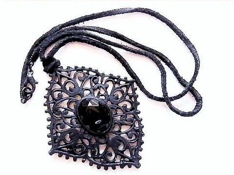 Vintage,Goth,Jet,Black,Japanned,Pendant,,Cab,,Necklace,,Leather,Chord,Jewelry,Necklace,princess_length,black,filigree,black_japanned,open_work,pendant,goth_punk,mourning,goth,jet_black,leather_cord,hipster,leather,japanned_metal