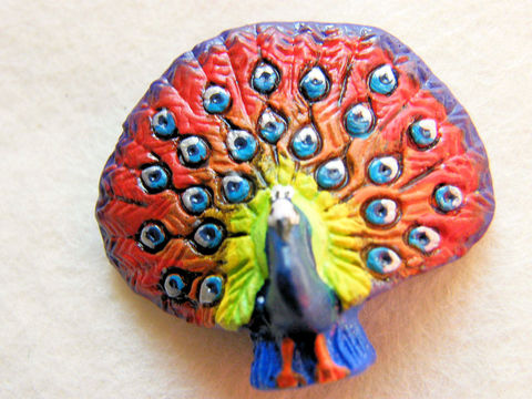 Woodland,Peacock,Focal,Bead,,Pendant,Peruvian,Ceramic,,Discontinued,Supplies,Bead,Ceramic,peacock,orange,yellow,focal_bead,medium_blue,purple,red,peruvian,ceramic,animal,bird,woodland,holiday,hand,painted