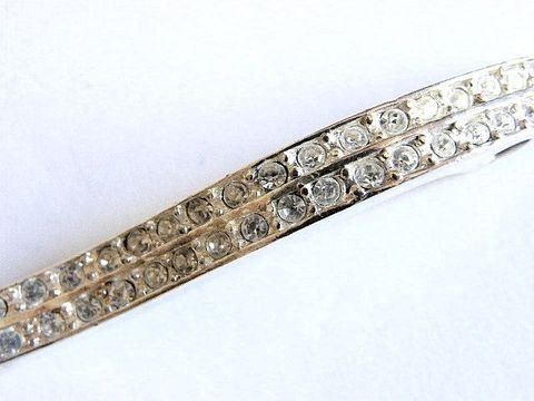 Vintage,S,Bar,Glam,Sparkle,Pendant,Silver,Tone,Pave,Rhinestones,Jewelry,s_bar,silver,metal,rhinestones,double,rows,Gifts_for_women,sparkle,holiday,glam,holiday_jewelry,slivertone