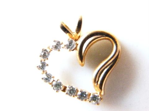 Vintage,Valentine,Sparkling,Heart,Pendant,High,Fashion,Zircon,And,14KGF,Signed,Jewelry,heart,14k,zircon,valentines,sparkle,simple,elegant,high_fashion,couture,gold,glam,designer_signed,valentines_day,metal,simulated_diamonds