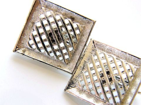 Vintage,Clip,Earrings,Sarah,Coventry,Framed,Basket,Weave,Jewelry,clip_ons,signed,sarah,coventry,silvertone,mesh,open,clip_backs,basket_weave,fashion,sarah_cov,abstract,designer_signed,metal