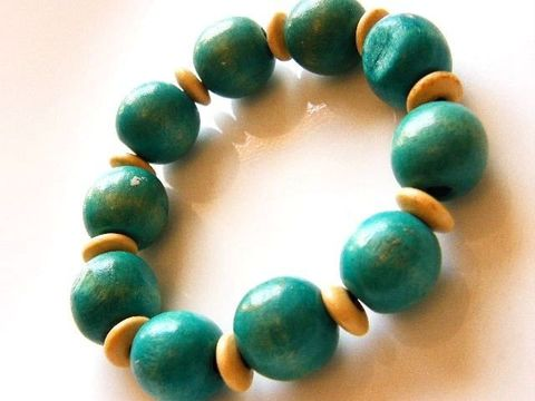Vintage,Stretch,Bracelet,Natural,And,Blue-Green,Teal,Wood,Beads,Jewelry,stretch,bracelet,wood,beads,teal,natural,disks,Gifts_for_women,eco_friendly,black_stretch_string,blue_green,woodland,boho,stretch_string