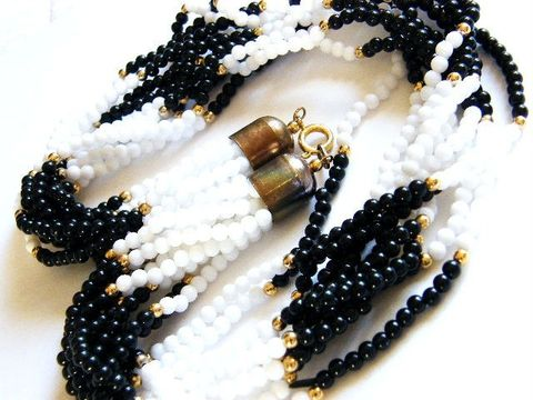 Vintage,Choker,Necklace,10,Strand,Jet,Black,And,White,Seed,,Pony,Beads,Jewelry,vintage,choker,necklace,white,10 strands,gold,spacers,multi_strands,jet_black,seed_beads,retro,mid_century,plastic,seed,beads