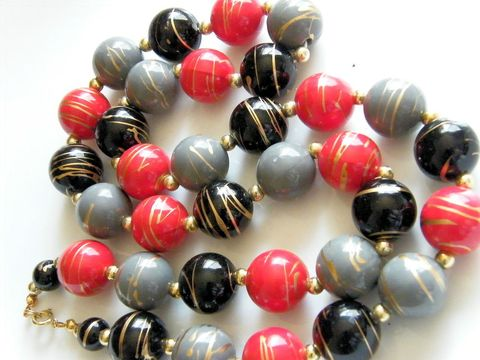 Vintage,Gold,Swirl,Large,Bead,Necklace,,Apple,Red,,Black,and,Blue,Jewelry,Necklace,matinee,goldtone,space_beads,red,black,robins_egg,blue,beads,large_beads,apple_red,Gifts_for_women,metal,plastic,paint