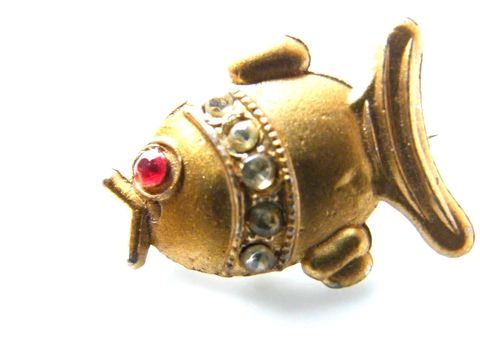 Tiny,Vintage,Fish,Pin,of,Gold,Matte,Finish,with,Rhinestones,and,C-Clasp,Jewelry,Brooch,tiny,fish,pin,c_clasp,matte,gold,red,rhinestones,sea,Gifts_for_women,animal,pot,metal