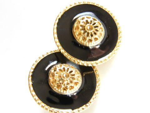Classical,Vintage,Button,Style,Black,,Gold-Tone,Post,Earrings,Signed,Made,in,U.S.A,Jewelry,post,earrings,round,button,black,enamel,signed,USA,vintage_earrings,retro,classical,hub_cab,designer_signed,gold_tone,metal,usa