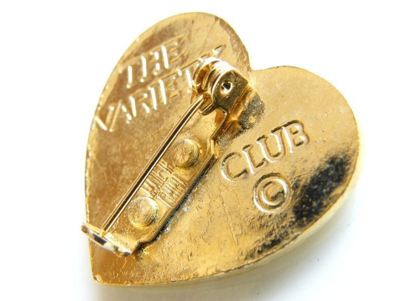 Vintage Heart Pin Brooch Collector S Variety Club Gold