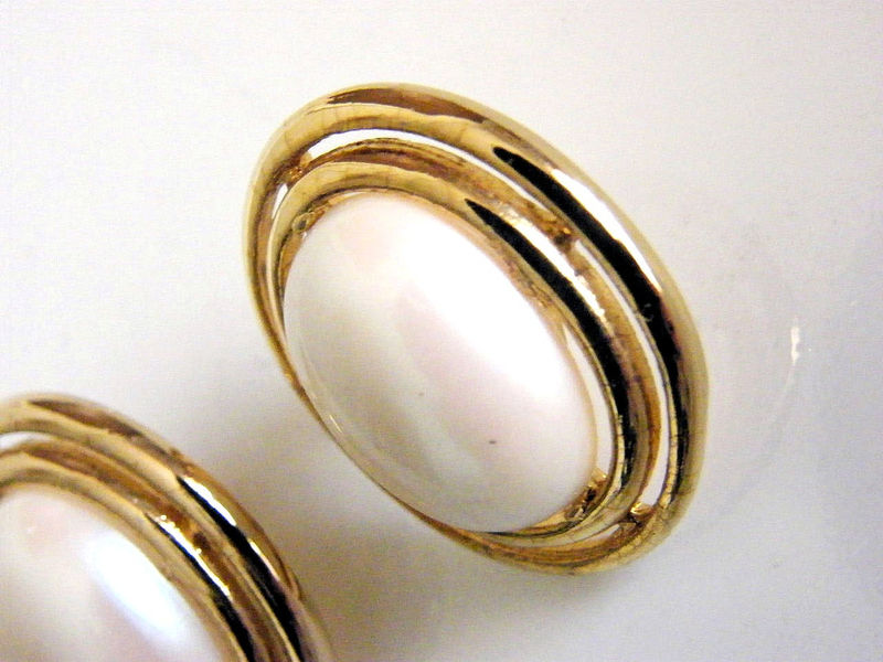 Vintage Modern, Romantic Pearl Cabochon Button Post Earrings Double ...