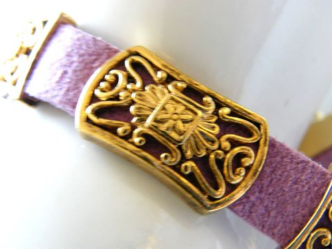 Vintage,Leather,Bracelet,Purple,Band,,Gold-Tone,,Disk,Decorated,Jewelry,vintage,bracelet,goldtone,floral,discs,purple,lavendar,retro,rustic,rectangle_discs,leather_band,flower,leather,gold_tone,metal