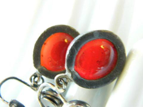 Vintage,Clip,Earrings,Steel,&,Ruby,Red,,Garnet,Red,Resin,Drop,Jewelry,drop,opaque,steel,Vintage_earrings,red_resin,clip_ons,apple_red,holiday_jewelry,neon_metallic,ruby_red,July_Birthday,red_garnet,January_Birthday,metal,resin