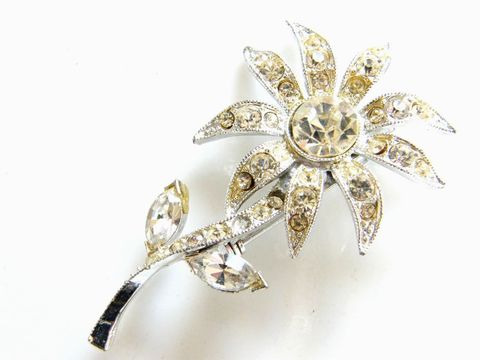 Vintage,Glam,Sparkle,Flower,Brooch,SilverTone,Pave,Set,Clear,Rhinestones,Jewelry,flower,pave,rhinestones,silver,shiny,vintage,brooch,sparkle,white,glam,holiday_jewelry,metal
