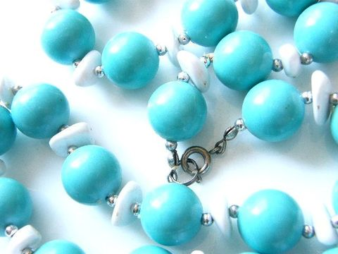 Vintage,Choker,Necklace,,Aqua,Blue,,White,,Silver,Tone,,Wood,,Plastic,Bead,Jewelry,Necklace,aqua_blue,white,choker,aqua,blue,wood,plastic,oval,beads,spring,ring,vintage_necklace,choker_necklace,silver,tone,metal