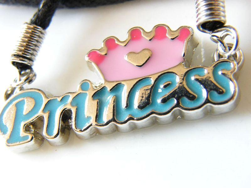 Vintage black cord crowned princess pendant childs necklace for vintage black cord crowned princess pendant childs necklace for crafting or past enchantment aloadofball Choice Image