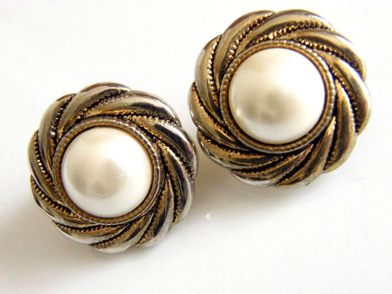 Vintage Clip Earrings Hurricane Swirl Frame White Cabochon Past Enchantment