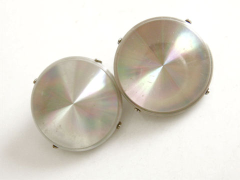 Vintage,earrings,,post,round,,buttons,,diamond,shapes,,machine,cut,design,,circles,,geometric,,silver,tone,,silver,,disc,,disk,,jet,black,Vintage earrings, disc, disk, refraction, rainbow colors, jewelerama, unmarked, button, 1960s, optical illusion, clip earrings