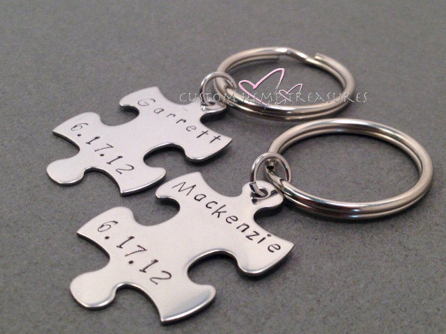 name date couples keychains personalized gift great anniversary