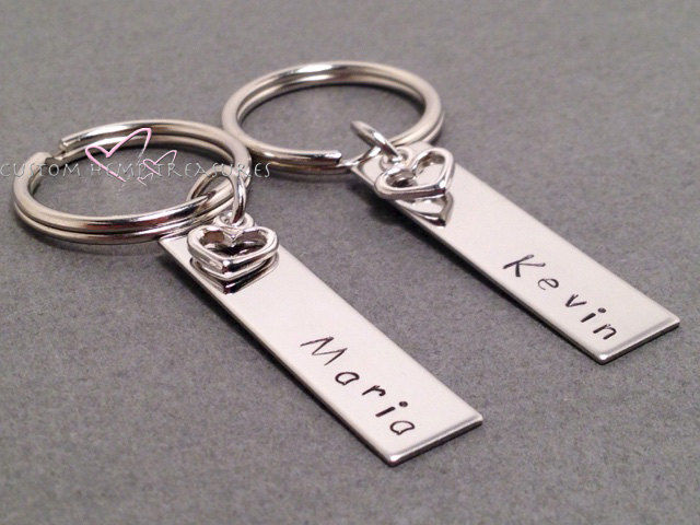 personalized couples keychains with heart charm customhemptreasures