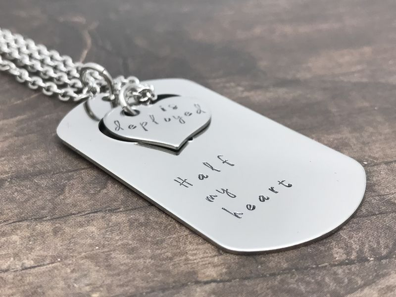 set of necklaces for couples  half my heart is deployed dog tag heart cut out necklaces