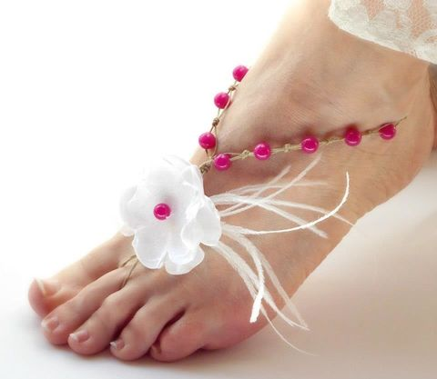 Color,Pop,Barefoot,Sandals,with,Ostrich,Spray,-,More,Choices,barefoot sandals, wedding shoes, beach wedding, bridesmaids sandals, pink barefoot sandals, toes, open toe sandal,