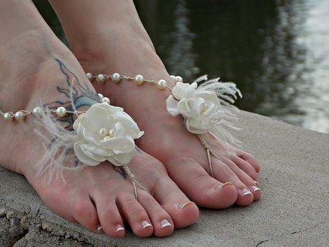 Ostrich,Floral,Bridal,Barefoot,Sandals,bridal-sandals, pearl-sandals, wedding-shoes, white-wedding, beach-wedding, beach-sandals, barefoot wedding, destination wedding, beach shoes, beach sandals, wedding sandals, ivory sandals