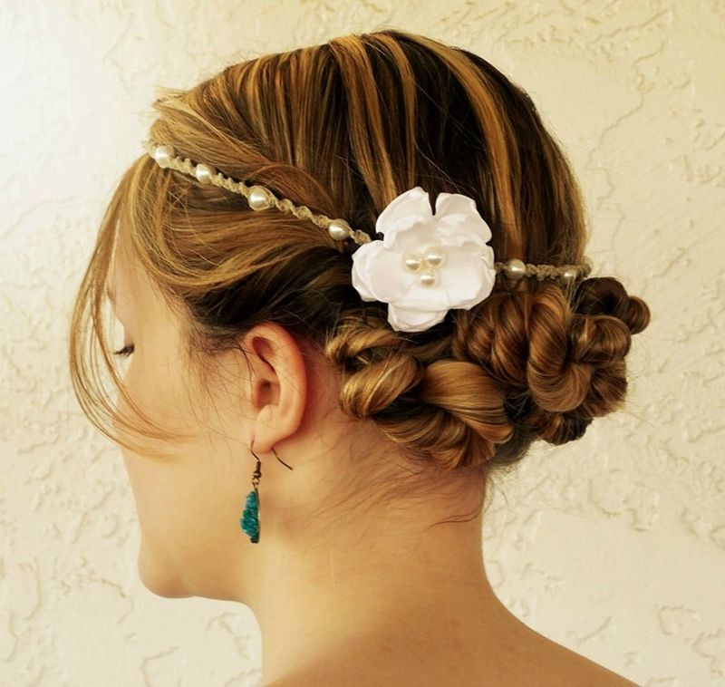 White Pearl Hemp Headband- Choose Flower Color - product images  of