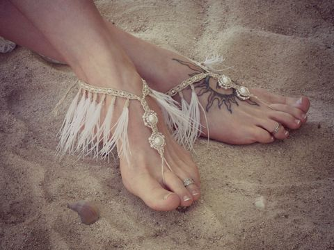 Feather,Fringe,Barefoot,Sandals,in,White,or,Ivory,Fringe-jewelry, fringe-tassels, tassel-jewelry, barefoot-jewelry-feathers, toe-thong, feather-wedding, ostrich-feathers, white-feathers, ivory-feathers, feather-feet, grace, lace, australia-wedding, coastal-wedding, beach-wedding, bohemian-wedding, free-s