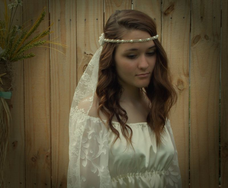 Hippie Wedding Veil - Hemp Headband - Pearls and Satin Flowers - product images  of