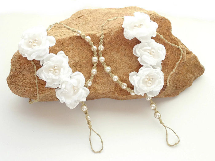 Ivory Floral Bridal Sandals - product images  of