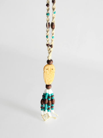 Owl,Tassel,Necklace,hemp-necklace, hemp-chain, braided-hemp-chain, hemp-jewelry, owl-jewelry, owl-focal, hippie-jewelry, hippie-necklace, long-necklace, turquoise, brown, bone-bead, tassel-necklace, tassel-jewelry, tassel-fringe, fringe-jewelry, fringe-tassel, beaded-tassel
