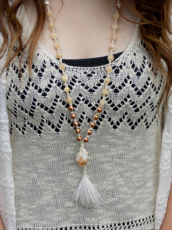 Citrine Crystal Tassel Necklace - product images  of